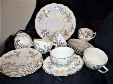 ELEGANT ART DECO CAKE PLATE & 6 X CUPS & 10 X SAUCERS HANDPAINTED BLUE FLOWERS